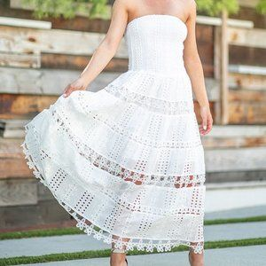 Strapless Embroidered Eyelet Tiered Maxi Dress